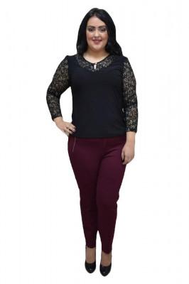 Bluza eleganta masura mare, cu dantela fina, de culoare neagra foto