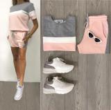 Cumpara ieftin Trening dama din bumbac roz cu gri si pantaloni scurti Minimal