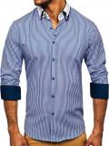 Cumpara ieftin Cămașă elegantă pentru bărbat cu mâneca lungă albastră Bolf 0909