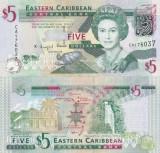 Insulele Caraibe Eastern Caribbean 5 Dollars 2008 UNC
