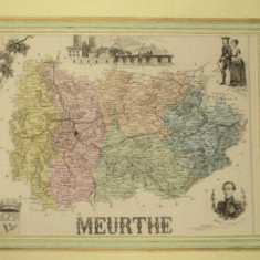 Harta regiunii Meurthe Franta, 1870