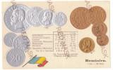 2073 - King CAROL I, Romanian Coins, Flag - old postcard, embossed - unused