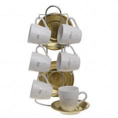 Set 6 cesti cafea portelan alb auriu cu 6 farfurii aurii pe stand inox 15x9x29