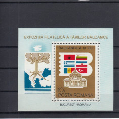 ROMANIA 1983 LP 1089   EXPOZITIA   FILATELICA  BALKANFILA  COLITA  MNH
