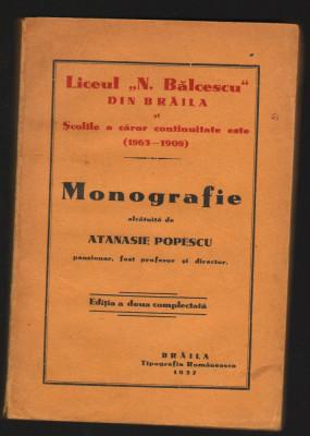 C8624 LICEUL NICOLAE BALCESCU BRAILA. MONOGRAFIE - ATANASIE POPESCU, 1937 foto