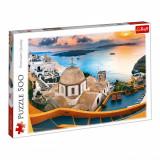 Puzzle 500 piese, model santorini apus, 40×26,5 cm , multicolor