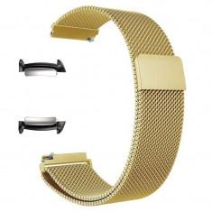 Curea tip Milanese Loop, adaptoare compatibile Samsung Gear Fit 2, Auriu