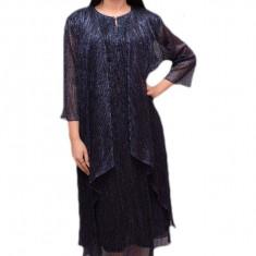 Rochie lunga cu cardigan asimetric, din material lucios, bleumarin