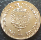 Moneda 1 BOLIVAR - VENEZUELA, anul 1989 *cod 2706 - A.UNC, America Centrala si de Sud