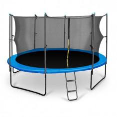 KLARFIT Rocketstart 430, 430 cm trambulină, plasă internă de securitate, scară largă, albastră