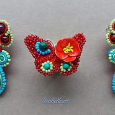 Set bijuterii handmade, cercei si inel