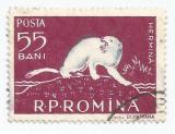 România, LP 448/1957, Fauna din Delta Dunării, deplasare culoare, eroare, oblit.