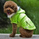Jachetă pentru câine cu buzunar fals - verde neon, XS
