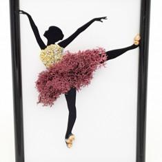 Cumpara ieftin Mini tablou cu licheni naturali stabilizati Nordic Zen, Mauve ballerina, 10x15 cm