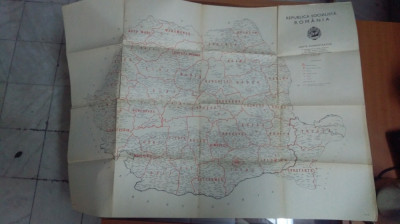 Hartă Administrativă - Republica Socialistă România - 1968 foto
