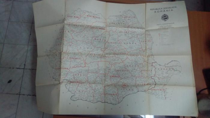 Hartă Administrativă - Republica Socialistă România - 1968