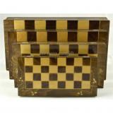 Joc Sah si Table din Lemn, Lucrat Manual, 32x32 cm