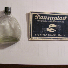 CY - Lot 2 articole vechi NIVEA / ambalaj pansamente + sticla parfumerie / goale
