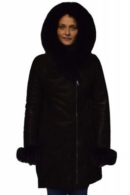 Cojoc dama din blana naturala, din piele naturala, marca Viva, R3-01-19-141, negru foto