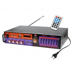 Amplificator Profesional tip statie Teli, 2 x 40 W, Bluetooth, USB, SD Card, Radio FM, intrare microfon