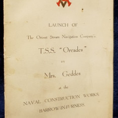 "MENIU T.S.S. ""Orcades"" by Mrs. Geddes , 1 Decembrie, 1936"