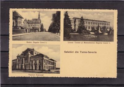 TURNU SEVERIN  LICEUL MONUMENTUL BULEVARDUL REGELE CAROL I   1936 STAMPILA TREN foto