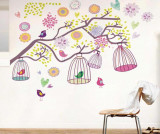 Sticker Colorful Flowers Birdcage
