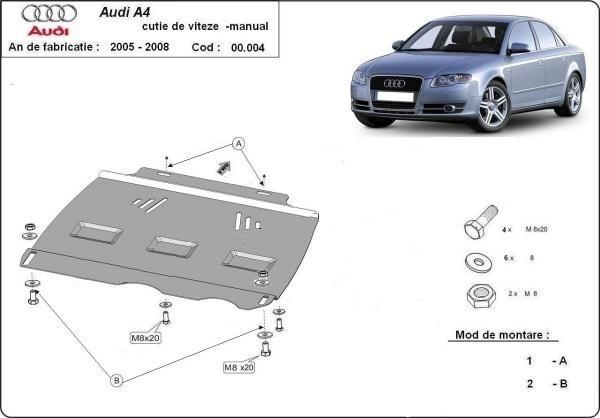 Scut metalic pentru cutia de viteze manuala Audi A4 B7 2005-2008