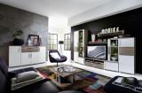 Set de mobila living din pal si MDF, 6 piese Jenise I Alb / Stejar