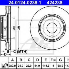 Disc frana NISSAN TIIDA Hatchback (C11X) (2006 - 2016) ATE 24.0124-0238.1