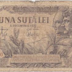 ROMANIA 100 LEI 5 DECEMBRIE 1947 UZATA NUMAR .6666.