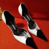 Pantofi eleganți dama, 38, Alb, Cu toc