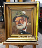10 Hamingway, tablou cu Portret, Portret cu vanator  45x40 cm