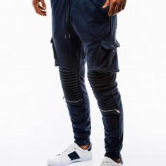 Pantaloni barbati de trening albastru slim fit sport street model nou P747
