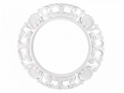 Rama decorativa rotunda de perete din lemn alb Ø 47,5 cm foto