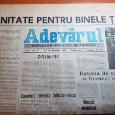 ziarul adevarul 28 decembrie 1989 - multe articole despre revolutia romana