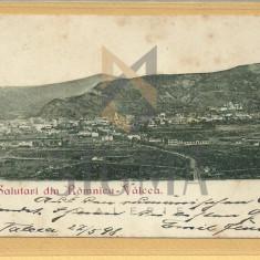 CARTE POSTALA, CLASICA, SALUTARI DIN RAMNICU-VALCEA, 1898