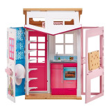 Casuta pentru papusi cu 2 etaje Barbie, mobilier si accesorii, Oem