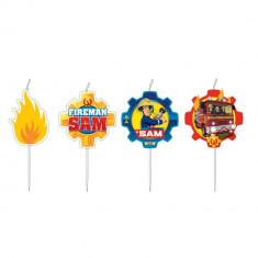 Lumanari pentru tort cu Pompierul Sam, Amscan 9902187, Set 4 buc