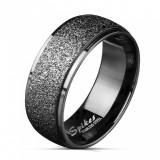 Verigheta din oțel de culoare neagră - dunga largă împodobită cu sclipici, 8 mm - Marime inel: 70