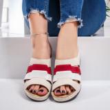 Papuci dama cu platforma bej cu rosii Rory