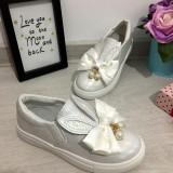 Pantofi albi holografici cu urechi si fundita balerini fete 21