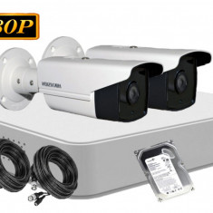 Kit supraveghere video Hikvision Turbo HD DS 7104HGHI F1 + 2 camere TurboHD DS 2CE16D0T IT3 2MP IR 40 m HDD 500GB