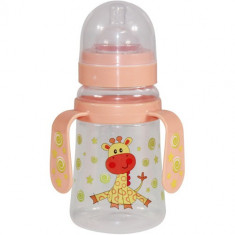 Biberon cu Doua Manere si Gat Larg Baby Care 250 ml Orange Giraffe