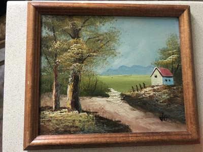 Tablou,pictura franceza in ulei pe lemn,rama din lemn foto