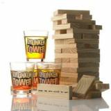 Joc Jenga Turnul Betivilor, cu 4 pahare de shot, din lemn, rosu