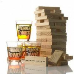 Cumpara ieftin Joc Jenga Turnul Betivilor, cu 4 pahare de shot, din lemn, rosu