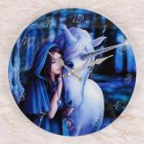 Ceas de perete din sticla, zana si unicorn, Alinare - Anne Stokes