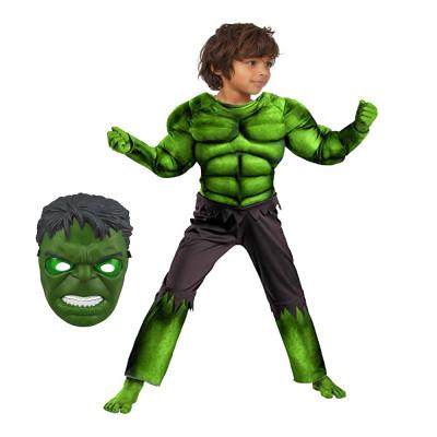 Costum carnaval Hulk cu muschi pentru copii War 95 110 cm 3 5 ani masca cadou foto