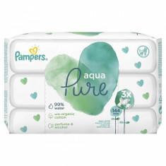 Servetele umede fara parfum Pampers Aqua Pure, 144 bucati